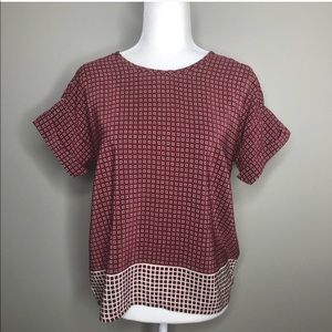 Madewell rust red print short sleeve top